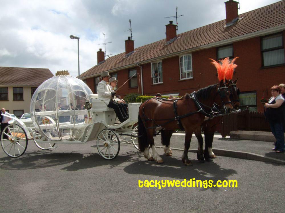 Tacky Wedding AllStar Minime bride and groom neon orange showgirl
